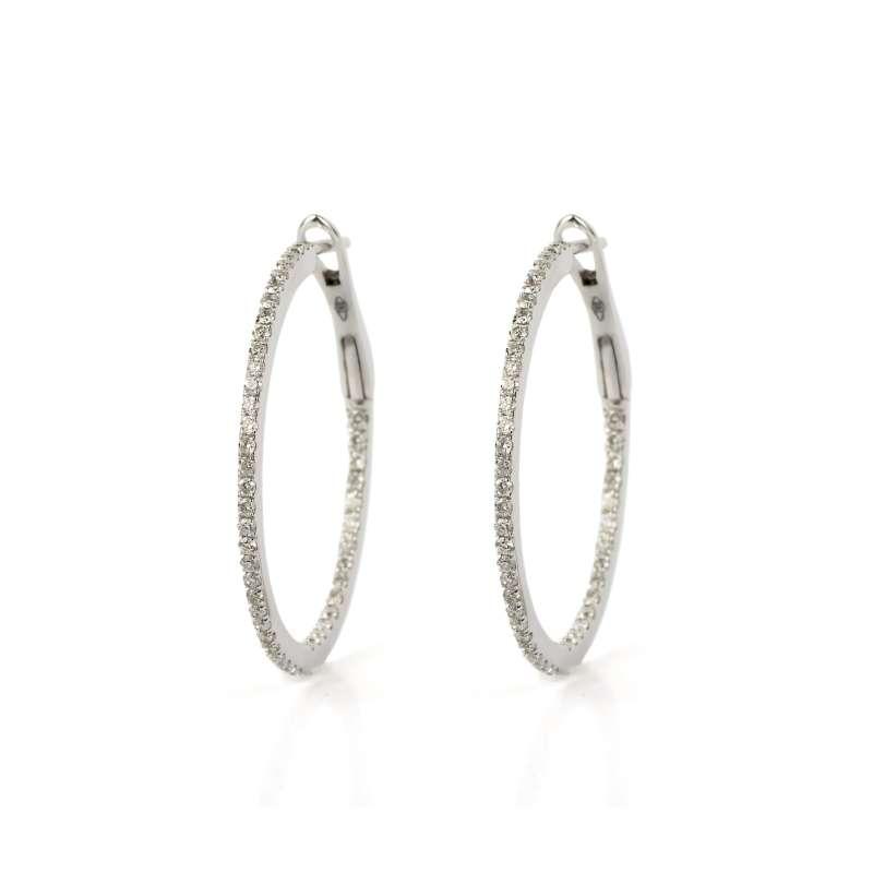 18k White Gold Diamond Set Hoop Earrings 0.96ct Total